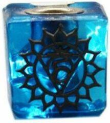 Blauwe Green Tree Candle Company Glazen Kaarshouder Keel Chakra