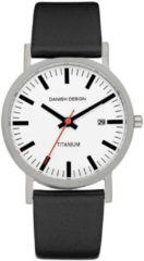 Zilveren Danish Design watches titanium herenhorloge Rhine White Black Date Medium IQ24Q199