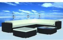 Zwarte Vidaxl loungeset voor buiten poly rattan zwart 24-delig