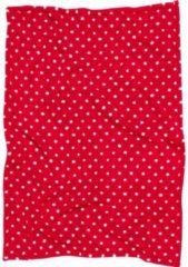 Playshoes Fleece deken rood met witte stip