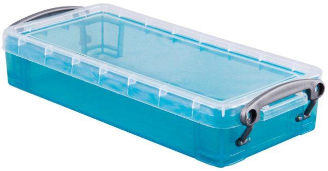 Afbeelding van Really Useful Box 0,55 liter, transparant helblauw