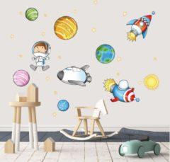 Plakkers.nl Muursticker ruimte raketten, planeten en sterren