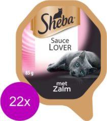 Sheba Sauce Lovers - Zalm - Aluminium Kuipjes - Katten natvoer - 22 x 85 g