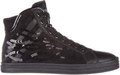 Nero Hogan Rebel Scarpe sneakers alte donna in camoscio r182 paillettes onde