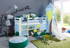 Hoppekids Halbhohes Bett »Dinosaurier«, inkl. Vorhang-Set, Matratze und Rollrost