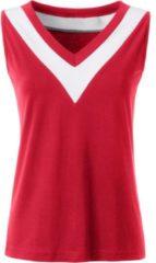 Rode Casual Looks shirttop met breed contrastkleurig beleg