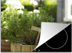 KitchenYeah Luxe inductie beschermer Palingkruid - 75x52 cm - Oregano in een houten bloempot in de tuin - afdekplaat voor kookplaat - 3mm dik inductie bescherming - inductiebeschermer