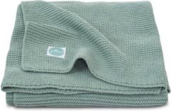 Groene Jollein Basic knit ledikantdeken 100x150 cm forest green