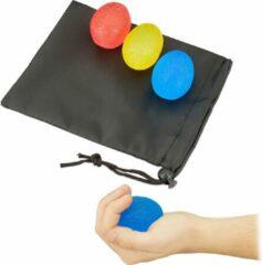 Relaxdays handtrainer - anti stress ballen - set van 3 - knijpbal - eivormig - stressbal