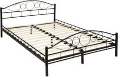 Zwarte Tectake Bedframe metalen bed frame met lattenbodem 200*140 cm 401723