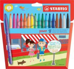 Zakje van 18 kleurviltstiften Stabilo Power