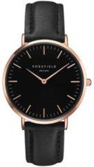 Rosefield Watches - The Bowery Dames Horloge | Zwart/Rosé goud | Leren band | Rond | Quartz uurwerk | Waterdicht | 3 ATM | Ø38 mm
