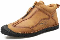 Beige Menico Men Hand Stiching Zipper Outdoor Casual Shoes