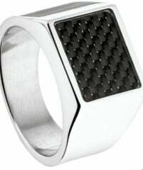 Zilveren DASH The Jewelry Collection For Men Zegelring Carbon - Staal