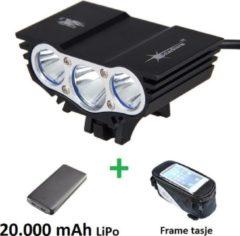 Zwarte SolarStorm X3 set - USB MTB/race LED koplamp EXTREEM veel licht met 3x CREE T6 LED - met 20.000 mAh LiPo Powerbank en handig frametasje