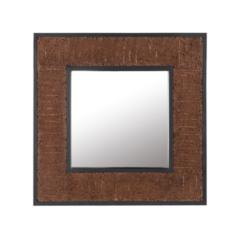 Beliani Wandspiegel donkere hout-look vierkant 60 x 60 cm. BOISE