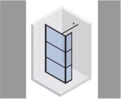 Inloopdouche met Zijwand Riho Grid 120x200 cm 6 mm Helderglas Zwarte Profielen