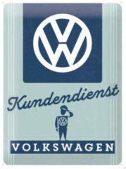 Blauwe Nostalgic Art Merchandising VW Kundendienst Metalen wandbord in relief 40 x 30 cm