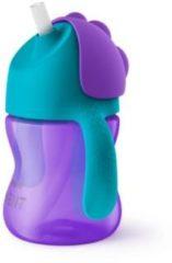 Avent Rietjesbeker meisje paarse beker met blauwe rand 200 Milliliter
