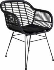 Norrut Trish fauteuil met kussen, rotan zwart .