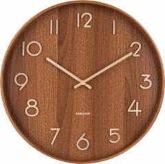 Donkerbruine Wandklok 'Pure Basswood' (donker, large) - Karlsson Clocks