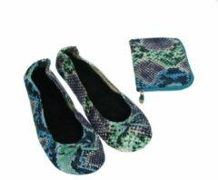Meander elegant home accesoires Pocket Shoe Pythonprint blauw maat 36/37 - slofje voor onderweg