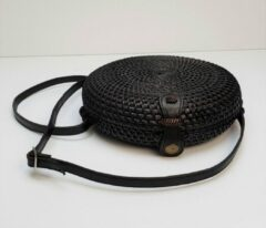 DUA Black Curved Bali Round Rattan Bag Zwart Rieten Ronde Tas