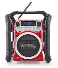 Caliber Audio Technology WORKXL1 Bouwradio DAB+, FM AUX, Bluetooth Accu laadfunctie, Waterdicht, Stofvast, Stofdicht Zwart, Rood