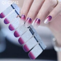 GUAPÀ - Nagelstickers & Nail wraps - Nail Art - Nagel Folie - Zilver / Paars - 14 stuks