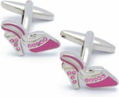 EdelManchet Manchetknopen - Roze Hoge Hakken met Witte Stenen