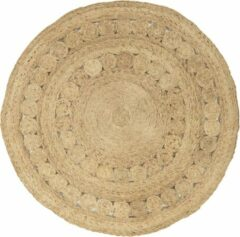 Eazy Living Easy Living - Zira-Circle-Rug-Spiro Vloerkleed - 150 cm rond - Rond - Laagpolig, Rond Tapijt - Bohemian - Beige, Bruin