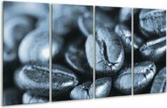 GroepArt Glas schilderij Koffiebonen, Keuken | Blauw, Grijs | 160x80cm 4Luik | Foto print op Glas | F006710