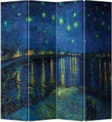 Blauwe Fine Asianliving Kamerscherm Scheidingswand 4 Panelen Van Gogh Sterrennacht boven de Rhone L160xH180cm