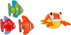 Folat Set van 3x Opblaasbare vissen en een krab