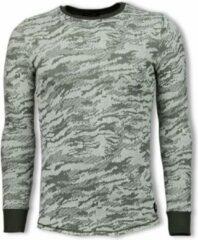 Tony Backer Army Look Shirt - Long Fit Sweater - Groen Sweaters / Crewnecks Heren Sweater Maat M