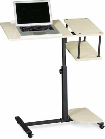 Afbeelding van Creme witte Relaxdays laptoptafel XL, hoogte verstelbaar, hout, laptop standaard beamertafel crème