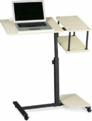 Creme witte Relaxdays laptoptafel XL, hoogte verstelbaar, hout, laptop standaard beamertafel crème