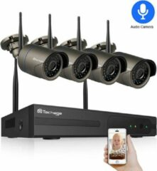 Grijze Eve Audio Beveiligingscamera set - 4 Stuks - 2TB Interne opslag - Bewegingsdetectie - Two way audio - 1080p - 1080 - Full HD - 2MP - 8ch - 8 Kanalen - Wifi - Ip - Telefoon - Computer - Nachtzicht - IP66 Waterproof