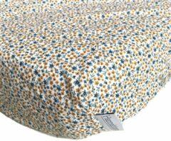 Blauwe Hannahhave wieghoeslaken, petrol/okergeel met zeegroen, Wild Flowers 40x80 cm