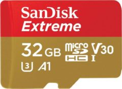 SanDisk Extreme® Action Cam microSDHC-kaart 32 GB Class 10, UHS-I, UHS-Class 3, v30 Video Speed Class Incl. SD-adapter, A1-vermogensstandaard