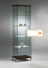 HMG Supplies Vitrine Floatline Volglas Cubic 48RVW kleur wit met led staafverlichting