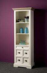 Grijze Tower Living Boekenkast Fleur wit met 5 laden en 3 open vakken | Grenen