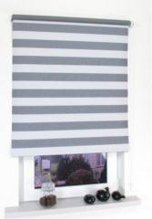 Liedeco Rollo mit Kette Verdunkelung Dekor Streifen lichtgrau, Seitenzugrollo für Fenster