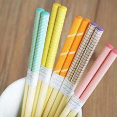 Paarse Davim Vrolijke Bamboe Chopsticks - 5 paar - Kleurige prints - 22,5cm - Sushi giftset