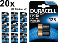 20 Stuks (10 Blisters a 2st) - Duracell CR123 CR123A 3V Lithium batterij (Duo Pack)