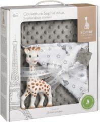 Grijze Sophie de giraf set van Sophie doux dekentje en Sophie de giraf bijtspeeltje