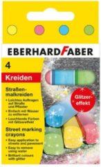 Stoepkrijt Eberhard Faber 4-kantig 6 glitterkleuren