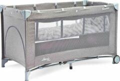 Grijze Caretero campingbed BASIC PLUS grey - vakantie baby bed met 2 lagen