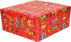4x Rollen inpakpapier/cadeaupapier Club van Sinterklaas rood 200 x 70 cm - Cadeaupapier/inpakpapier voor 5 december pakjesavond