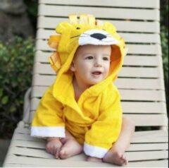 Gele Baby badjas - Komfor - Leeuw - Inclusief gratis baby borstel & kam